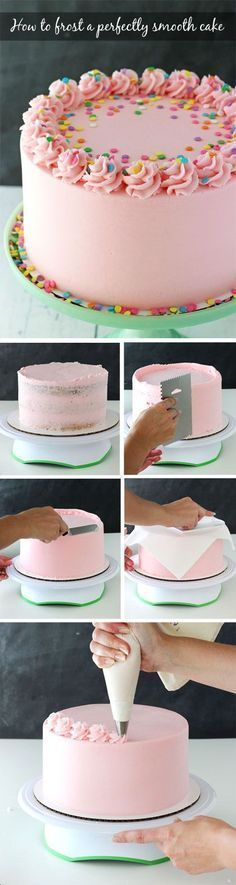 Tutorial for how to frost a perfectly smooth cake with buttercream icing! Images and animated gifs with detailed instructions!