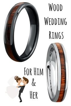 Mens wooden wedding rings These make such unique wedding rings