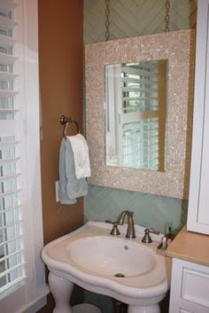 DIY To Add A Little Something To Builder Grade Mirrors. Could Use Any Kind  Of Tile. | Ideas De Inspiración | Pinterest | Builder Grade, Bath And Diy  Mirror
