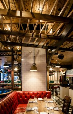 Drake One Fifty | Toronto... love cork ceilings above wood beams. sound absorption and subtle texture