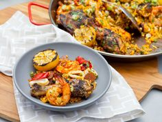 Grilled Paella recipe from Katie Lee via Food Network