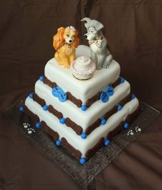 Specially created for a couple who are animal lovers - Lady and Tramp Disney Wedding Cake