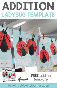 FREE Addition ladybug activity | Learning how to add | Hands on maths activity | Prep, Foundation and Kindergarten lesson ideas | Printables for Australian teachers | Australian Curriculum |