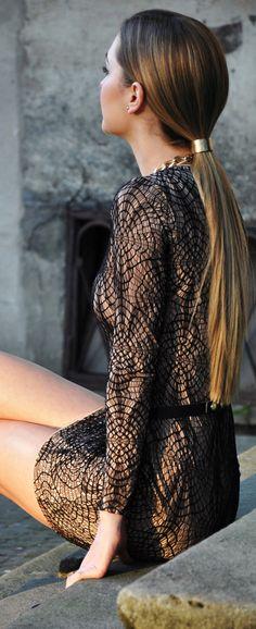 the perfect hair cuff...#street #fashion black & gold dress