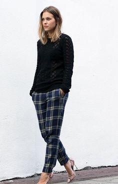 plaid + black.   Beautiful Womens Fashion
