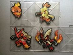 #255-#257 Torchic Family Perlers by TehMorrison