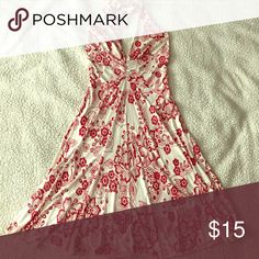 """Halter top dress Off-white with red flowery design halter top dress. Thin material &a form fitting. I'm 5'3"""" and the bottom hits right above my knee. Worn a handful of times and in good condition. 92% polyester 8% spandex Do & Be Dresses"""