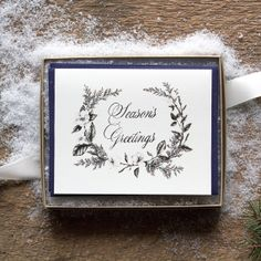 Holiday Card Set 6pc Season's Greatings by BurrowingHome on Etsy, $24.00
