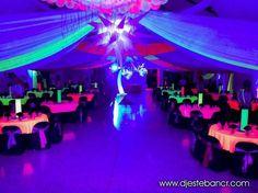 New Party Club Nightclub Sweet 16 Ideas Neon Birthday, 13th Birthday Parties, Sweet 16 Birthday, 16th Birthday, Glow Party Decorations, Birthday Party Decorations, Disco Party, Neon Sweet 16, Blacklight Party