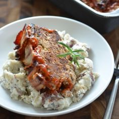 Meatloaf is back & better! Flavorful with bacon, cheese, wine & garlic. Over smashed rosemary potatoes? Now you're talking.