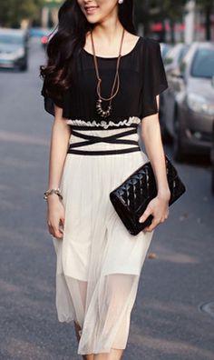 Korean colourblocked waisted dress  2306