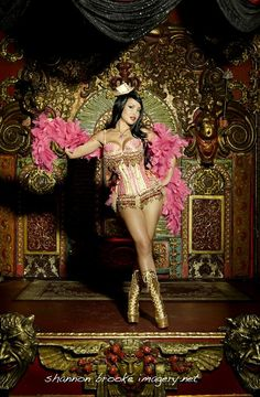 Corsets: Pink-and-Gold Burlesque Corset Costume with Beaded Fringe.