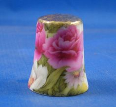 Gold Top Thimble Pink Rose Floral | eBay
