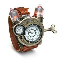 The Tesla Watch goes with your steampunk aesthetic. With a weathered-brass look on all the metal parts, this analog watch features a leather strap.