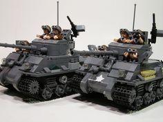 Sherman Battle Tanks in Lego - cool product design Lego Toys, Lego Duplo, Legos, Gi Joe, Lego Ww2, Lego Boards, Amazing Lego Creations, Lego Craft, Lego Mecha