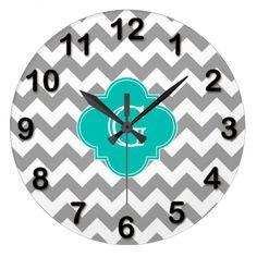 Gray Wht Chevron ZigZag Teal Quatrefoil Monogram Clocks available here : http://www.zazzle.com/gray_wht_chevron_zigzag_teal_quatrefoil_monogram_clock-256692587316097117?rf=238489066022089310