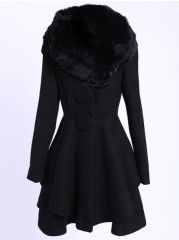 Lapel Fur Collar Plain Overcoats