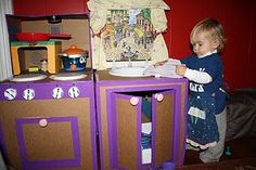 DIY Cardboard Box Kitchen Play set - made from Family Fun instructions