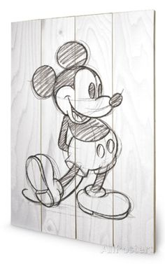 Mickey Mouse Sketched - Single Wood Sign Wood Sign - AllPosters.co.uk