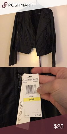 Calvin Klein faux leather jacket Brand new Calvin Klein black faux leather jacket. Never worn...just sitting in my closet...it's a short jacket...very chic and stylish! Calvin Klein Jackets & Coats