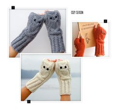 These owl fingerless mittens are a hoot. (See what I did there?)