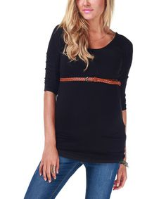 Look at this #zulilyfind! Black Belted Maternity Three-Quarter Sleeve Top by PinkBlush Maternity #zulilyfinds