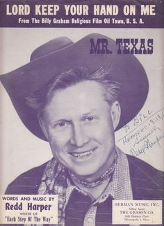 Lord Keep Your Hand on Me 1952 Sheet Music Mr Texas Redd Harper Signed