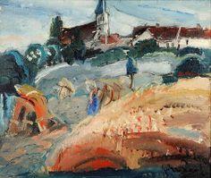 Adjugé 19 000 euros par le 21 avril 2014 -  GEN PAUL (1895 - 1975). St Rémy d'Honoré sur Oise. Huile sur toile, signée en bas à droite et contresignée au dos. 46 x 55 cm