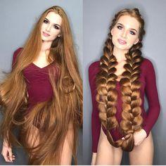 A modelo russa @sidorovaanastasiya e seus longos cabelos ruivos.