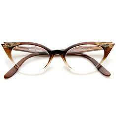 0f4ca5bfab Vintage Cateyes Inspired Fashion Clear Lens Cat Eye Glasses with  Rhinestones (Brown-Fade)