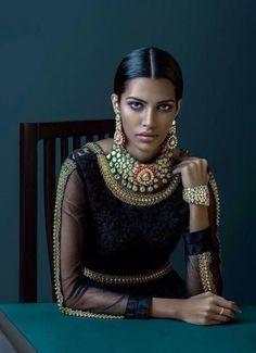 Indian bride - black and gold - Indian bridal make up - bridal jewellery - Indian Bride by Jenjum Gadi Indian Wedding Fashion, Indian Bridal, Indian Couture, Rocker Chic, Warrior Princess, Mode Vintage, Saris, Indian Wear, Indian Style