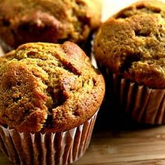 Pumpkin Ginger Nut Muffins II Recipe Breads with flour, salt, sugar, baking soda, pumpkin purée, melted butter, eggs, water, nutmeg, cinnamon, allspice, ground ginger, toasted walnuts, candied ginger