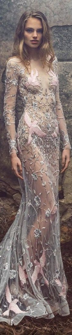 Paolo Sebastian couture 2015/16 Sheer gown with floral and bird appliqués // Pinned by Dauphine Magazine x Castlefield - Curated by Castlefield Bridal & Branding Atelier and delivering the ultimate experience for the haute couture connoisseur! Visit http://www.dauphinemagazine.com, @dauphinemagazine on Instagram, and /dauphinemag/ on Pinterest • Visit Castlefield: http://www.castlefield.co and @ castlefieldco on Instagram / Luxury, haute couture, fashion, weddings, bridal, style, design