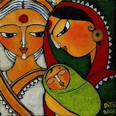 Shasti – Hindu Goddess of Children. Shasti protects mothers in labor and children until they reach puberty. She is a favorite of midwives and nurses, and is pictured as a matronly figure riding a cat. Modern Indian Art, Indian Folk Art, Indian Artist, Modern Art, Madhubani Art, Madhubani Painting, Fabric Painting, Painting & Drawing, Textured Painting