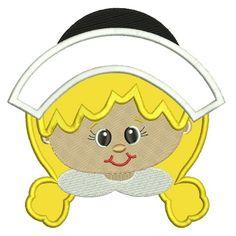Cute Pilgrim Girl Applique Machine Embroidery Design Digitized Pattern