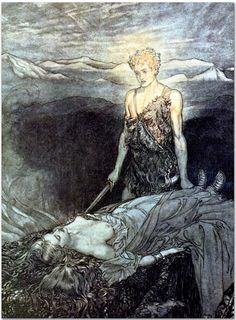 """Magical rapture / Pierces my heart; / Fixed is my gaze / Burning with terror; / I reel, my heart faints and fails!"" (1911), by Arthur Rackham (1867-1939), from Act 3 of Siegfried (1871), by Richard Wagner (1813-1883)."