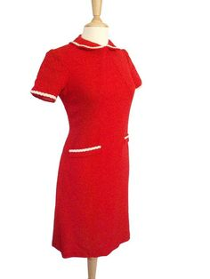 Vintage Red Shift Dress with Peter Pan Collar circa by LarkVintage