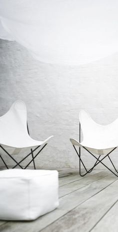 = butterfly chairs, decking and white