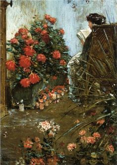In the Garden at Villers-le-Bel - Childe Hassam. #reading #books