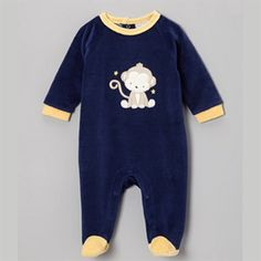 Blue & Yellow Monkey Velour Footie – Infant – Kuukid - Fun Inspired Gift Shop for Kids