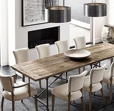 """RH's Flatiron Rectangular Dining Table:The pairing of antique reclaimed elm doors and cast metal achieves the """"form meets function"""" industrial appeal of Flatiron. Elegant Dining Room, Beautiful Dining Rooms, Dining Room Design, French Dining Chairs, Dining Room Chairs, Arm Chairs, Rattan Chairs, Office Chairs, Dining Tables"""