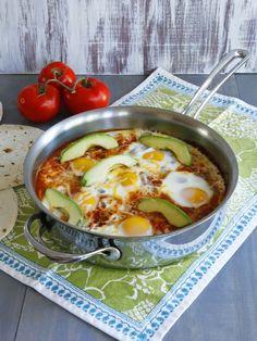 Huevos Shakshukos - Shakshuka Recipe with a Mexican Twist Inspired by Huevos Rancheros on ToriAvey.com