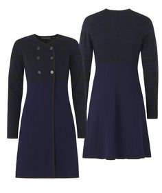 Easily shaped and nice knee-length jacket with patterns of unequal squares knitted in soft wool. The jacket is feminine while the pattern and colors m. Long Jackets, High Neck Dress, Feminine, Dresses For Work, Wool, Pattern, How To Make, Black, Fashion