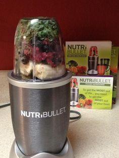 Breakfast w/ the #nutribullet strawberries,kale,bananas,raspberries, blueberries,blackberries,hemp-seeds & flaxseeds! #nutriblast
