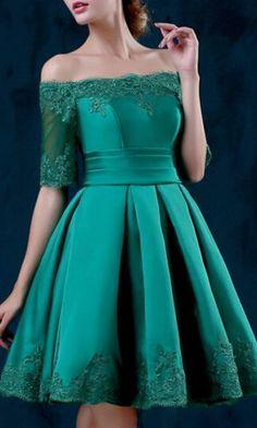 Green Off Shoulder Lace Hem Half Sleeve Lacing Back Prom Skater Dress