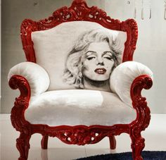 Marilyn Monroe Queen Anne chair red & white