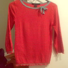 Marc by Marc Jacobs sweater Marc by Marc Jacobs 100% cotton sweater. Red/Orange & Turquoise, striped, beautiful knit design detailing at bottom and edges. turquoise bow at neckline, super chic. Vintage VERY HARD TO FIND. Excellent condition.  size S. wouldn't sell it if I didn't feel it was too small for me personally, wish I had it in a medium (i wear a 34C). Marc by Marc Jacobs Sweaters