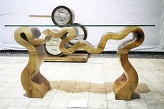 Recycled: Scrap lumber from the production of furniture products and common wood were used to make elegant art wood pieces.