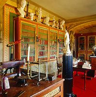 Champ de Bataille -- Jacques Garcia's study where the mahogany bookshelves also display a collection of marble busts