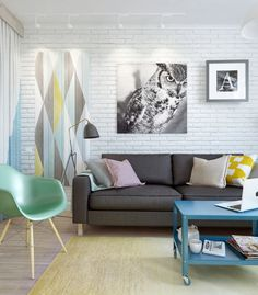 This entire apartment situation....especially the charcoal couch with pastel pillows. LOVE!! see link for entire apartment!   Living in a shoebox | Small pastel apartment in Moscow
